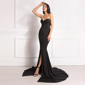 Sexy Strapless Long Black Maxi Dress Front Slit bare shoulder Red Women's evening summer dress Night Gown Party Maternity Dress