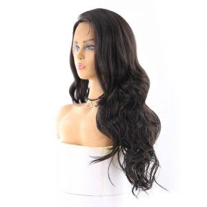 Black Colored Synthetic Lace Front Wigs For Black Women X-TRESS 24inch Long Body Wave 13X4 Lace Hair Wig With Natural Hairline