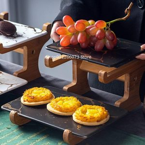 Marbling Ceramic Cake Rack Afternoon Tea Snack Double Wooden Frame Snack Table Decoration Fruit Plate Dessert Plate
