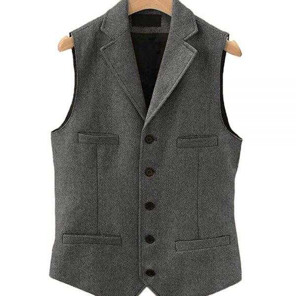 Grey Waistcoat Men's Casual Tweed suit Vest Slim Fit Notch Lapel custom made Waistcoat For Wedding Groomsmen Leisure Business