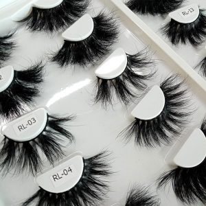 Handmade 5D Thick Curl 25mm Real Mink False Eyelashes With Tray Only