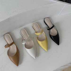 Crocodile Fashion Women Slippers Pointed Toe Hollow Design Slip On Flats Slides Casual Flats Slippers Flip Flops Women Shoes