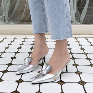 Tip-toed high-heeled bow slippers for women in summer wearing thin-heeled Baotou semi-slippers for women's shoes in 2019