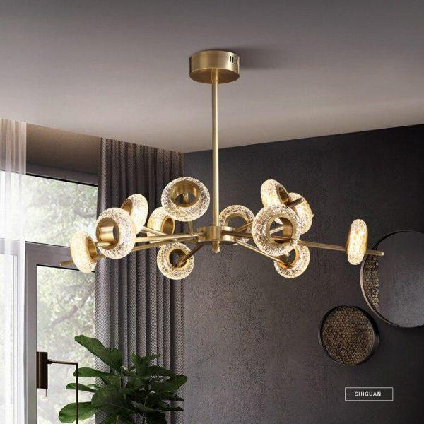 Bronze Lustras Chandelier Light Fixture Hanging Lamp Drop Lamparas for Living room Dining room Cafe Hotel Decoration