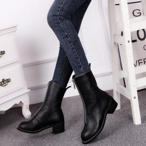With Head Locomotive Boots Flat Bottom Soft Leather Zipper Single Boots
