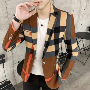 Mens Suits Blazers Spring and Autumn 2020 New Fashion British style Contrast Color Plaid Splicing Pattern Slim Casual Men Blazer