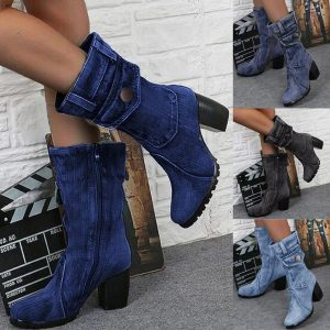 Blue jeans boots Women's Mid-rise Rome Solid Slip-On Chunky Med Heels Boots wild vintage Large Size Ladies shoes