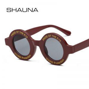 SHAUNA Ins Popular Retro Small Round Sunglasses Women Letter Frame Fashion Sun Glasses UV400
