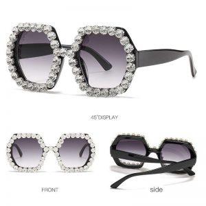 2020 Vintage Oversized Square Diamond Sunglasses Women Big Frame Shades Luxury Colorful Crystal Sun Glasses Rhinestone UV400