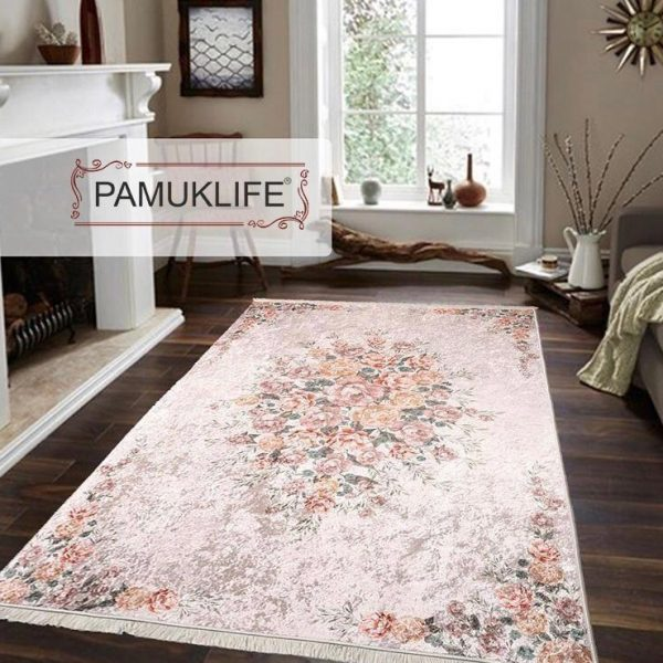 Pamuklife Artificial Leather Based Non Slip Base Carpet Flower Modern Super Soft Carpet Washable Daily Fashion Style