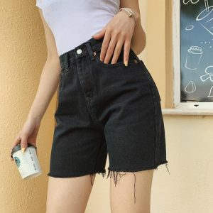 High Waist Slim Denim Shorts Bermuda Plus Size Woman New Fashion Tassel Tight Five-point Denim Shorts Washed Sexy Female summer