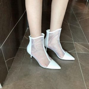 Brand Women's Shoes Sexy Boots Boots-women Zipper Booties Woman 2020 High Heels Fashion Rubber Sandals Stiletto Ankle Pointy