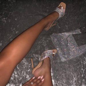 Summer Women Pumps 2020 rhinestone High Heels Sandals Sexy Square Toe Heels Mules Fashion Wedding Party Shoes Women