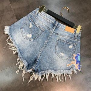 2020 Summer fashion New Arrivals Moon Stars Sequins Embroidery Tassel Patch Raw Denim Shorts Female Fashion Tide Women KZ309