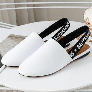 BaoYaFang 2020 New arrival Flat slingbacks Women Fashion Summer shoes woman wedding shoes female Round toe big size 34-42