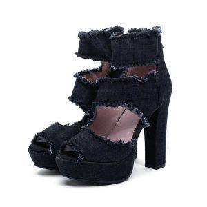 QUTAA 2020 Women Sandals Square Super High Heel Zipper Sexy Peep Toe Denim High-side Hollow Boots Platform3.5cm Size 34-39