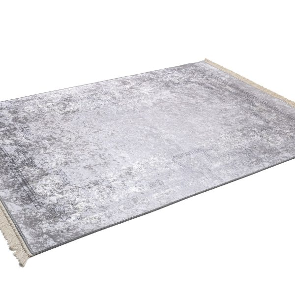 Pamuklife Artificial Leather Based Non Slip Base Carpet Vera Silver Modern Super Soft Carpet Washable Daily Fashion Style