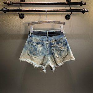 Hot Sale Women Shorts Badge Embroidery Jeans Denim Shorts Ladies Tearing Tassel Irregular Leg-openings Shorts