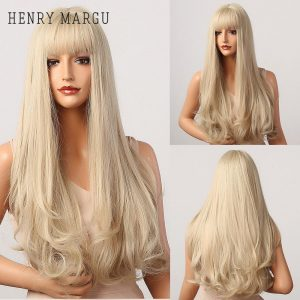 HENRY MARGU Long Natural Wavy Platinum Blonde Wigs with Bangs Cosplay Party Lolita Synthetic Wigs for Women Heat Resistant Fiber