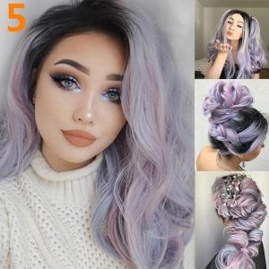 WHIMSICAL W Women Medium Long Curly Wigs Natural Ombre Mixed Purple Black Color Heat Resistant Hair Synthetic Wig for Women