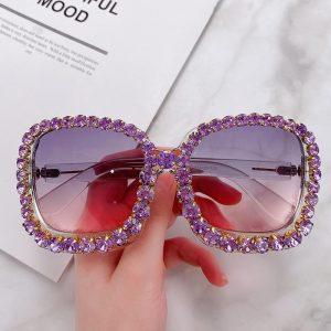 2020 Vintage Oversized Square Colorful Diamond Sunglasses Women Luxury Crystal Fashion Sun Glasses For Female Rhinestone UV400