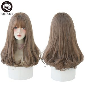 7JHH WIGS Light Brown Wig For Women With Fringe Fashion Heat Resistant Mid-Length Synthetic Wig