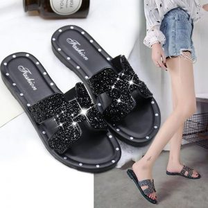 Bling Mules Summer Women's Beach Shoes 2020 Fashion Rhinestone Girls Slippers Light Concise Ladies Slides Glitter Woman Slippers