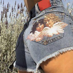 European and American retro high waist was thin angel printed raw denim shorts female summer thin section loose a word hot