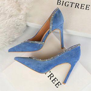 2020 Women Blue 10cm High Heels Crystal Glitter Pumps Rhinestone Pink Female Escarpins Fetish Heels Party Wedding Bridal Shoes