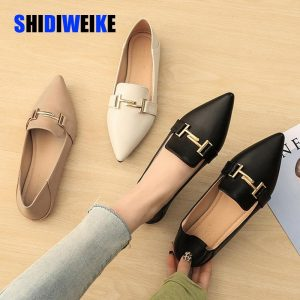 2020 Flat Shoes Women Sweet Flats Shallow Women Boat Shoes Slip On Ladies Pointed Toe Loafers Spring Women Flats black AB044