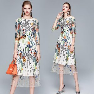 2020 Summer Embroidery Party Dress Runway Floral Bohemian Flower Embroidered Beach Boho Mesh Dresses For Women Vestido