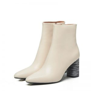2020 Winter New Style Genuine Leather Ankle Boots Pointed Toe Thick Heel Chelsea Boots Calf Leather Women Boots Ladies Shoes