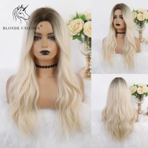 Blonde Unicorn Synthetic Long Natural Wave Wig Brown Root Ombre White for White Women Heat Resistant Fibre Cosplay Daily Hair