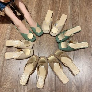 2020 Spring New Metal Square Buckle Fashion Casual Shoes Thick Low Heel Slippers Women Shoes Woman Mules Solid Leather Slides