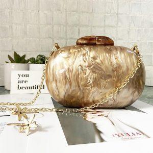 Ellipse Acrylic Bags Cute Clutches Coffee Handbag Evening Clutch Bag Wedding Party Purses Personality Women Chain Shoulder Bags
