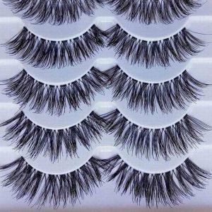 5 Pairs Makeup Handmade Natural Long Volume False Eyelashes Lady Lashes Extensions Eyelashes Artificial Eyelash Practice
