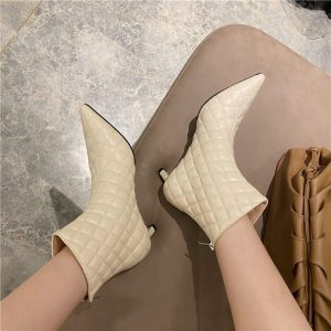 Sewing Design Women Ankle Boots Pointed Toe Back Zipper Fashion Short Boots Thin Mid Heels Black/Beige Winter Boots Woman Shoes