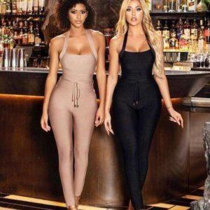 High Quality Black Women Turtleneck Neck Rayon Bandage Jumpsuit Sexy Bodycon Celebrity Party Jumpsuits Vestidos