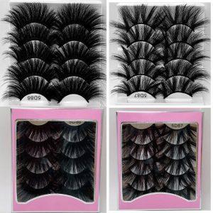NEW 5pair 100% Handmade long 25mm lashes 3D Mink Eyelashes Natural Makeup False Lashes 5D Volume Wispies Fluffy Eyelashes Extens