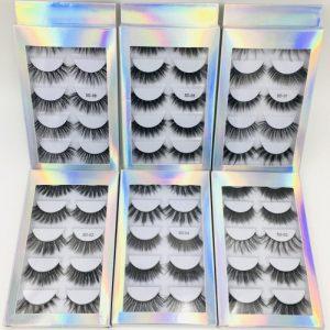 5 Pairs 3d Faux Mink False Eyelash Set Black Thick False Eyelashes Classic Fiber Naturally Long Fake Eye Lashes False Eyelashes