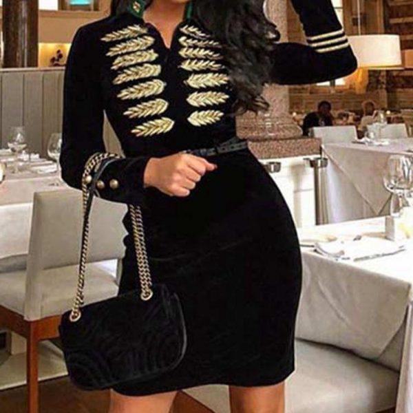 2020 New Fashion Bandage Dress Women Long Sleeve Embroidery Zipper Elegant Sexy Club Evening Party Bodycon Dress Vestidos