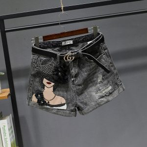 New Summer Korea-style High Waist Shorts Jeans for Women All-match Sequins Embroidery Wide Leg Denim Shorts for Mujer Hot Shorts