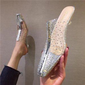 Transparent Women Slippers Mules Shoes Woman Clear Low Heels Elegant Pumps Sandals Slides Summer Ladies Beach Shoes Vacation