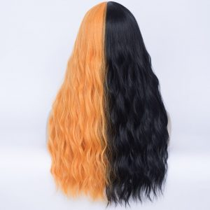 MSIWIGS Long Black and Orange Synthetic Cosplay Wigs with Bangs Two Tone Ombre White Pink Red Hairpiece for Party