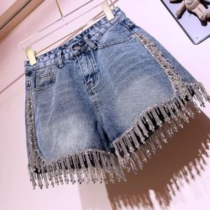 Rhinestone Fringed High Waist Denim Shorts Flash Wimen's High-end Diamond Tassel Short Jeans Hot Pants
