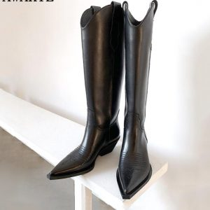 Western Cowgirl New  leather pointed Toe Knee high boots women Square Kitten heels female Winter long boots Cowboy Knight Botas