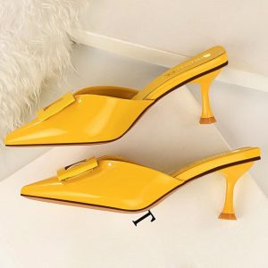 2020 New Style Summer Slides Women 6cm Low High Heels Mules Shales Casual Yellow Kitten Heels Slippers Sexy Buckle Glossy Shoes