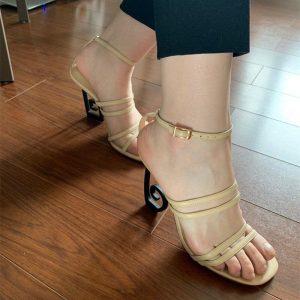 Novelty Strange Heel Gladiator Sandals Women Narrow Band High Heels Asymmetrical Metal Heel Summer Shoes Woman