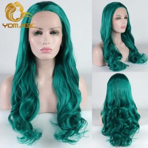 Yomagic Dark Green Synthetic Hair Lace Front Wigs with Natural Hairline Long Wavy Affordable Cosplay Glueless Lace Wigs