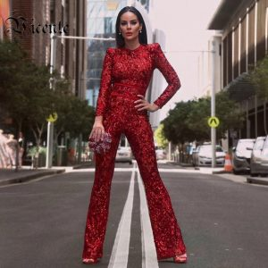 VC Women Jumpsuit Chic Goregous Floral Sequins Long Sleeves Sashes Design Celebrity Party Club Bandage Romper